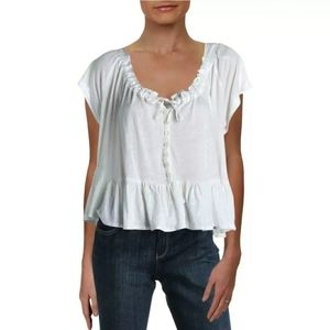 👚FREE PEOPLE White ruffled peplum tshirt